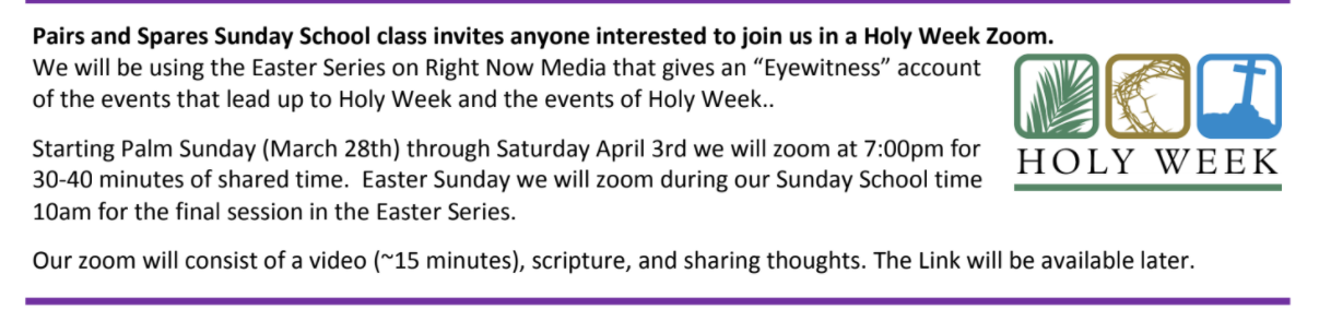 HOLY WEEK ZOOM